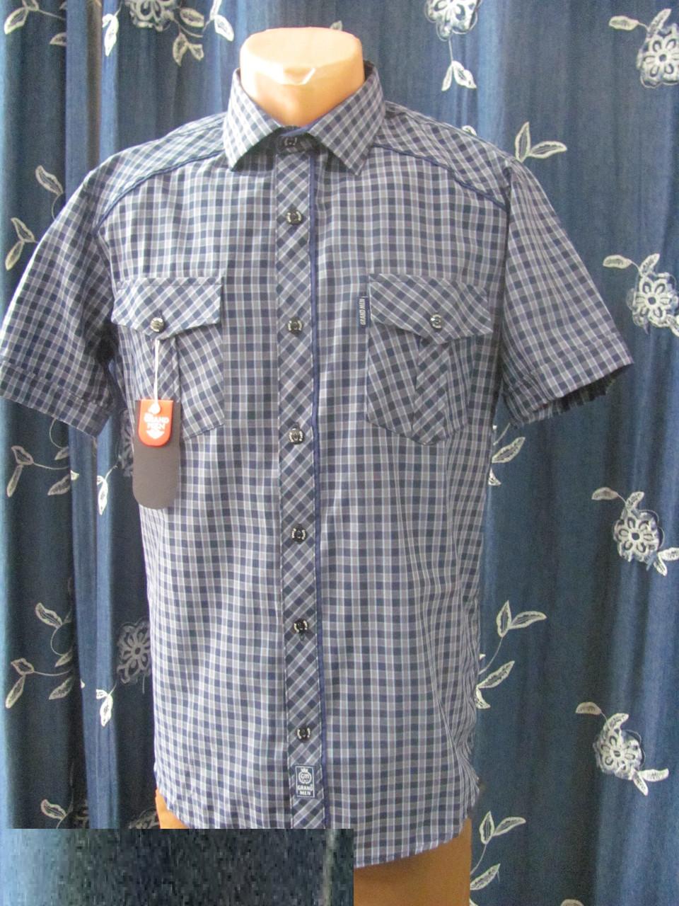17165267ec68fbe Рубашка мужская летняя в мелкую клетку, с двумя нагрудными карманами,  прекрасно носится, р