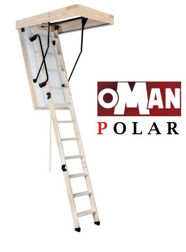 Сходи на горище Oman Polar з ножками та поручнем 120х70
