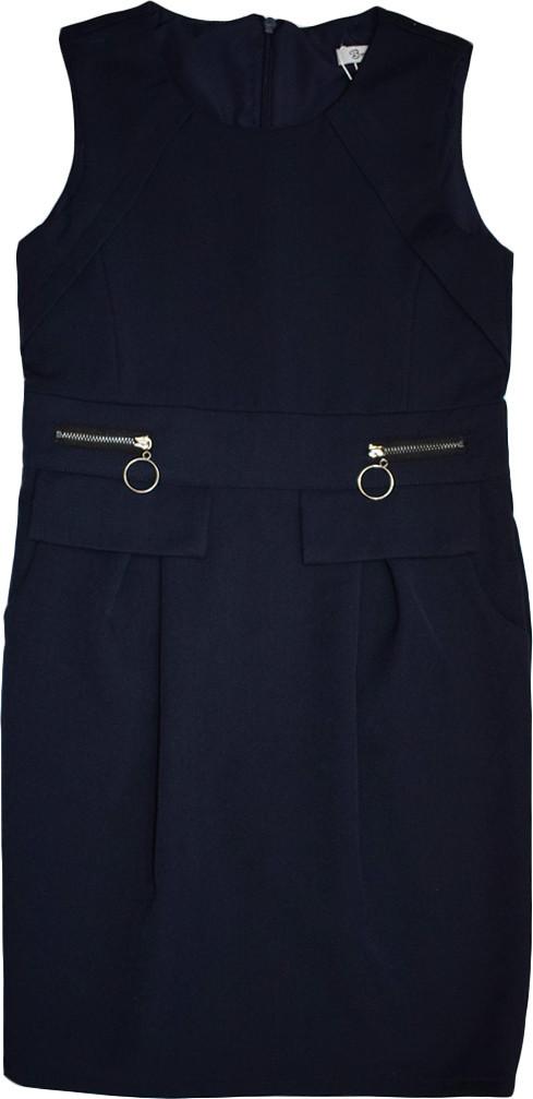 Школьный сарафан Mila TM Newpoint синий с карманами размеры  158