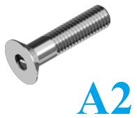 Винт с потайной головкой с внутренним шестигранником DIN 7991 М5×30 нержавеющий А2 (200 шт/уп)