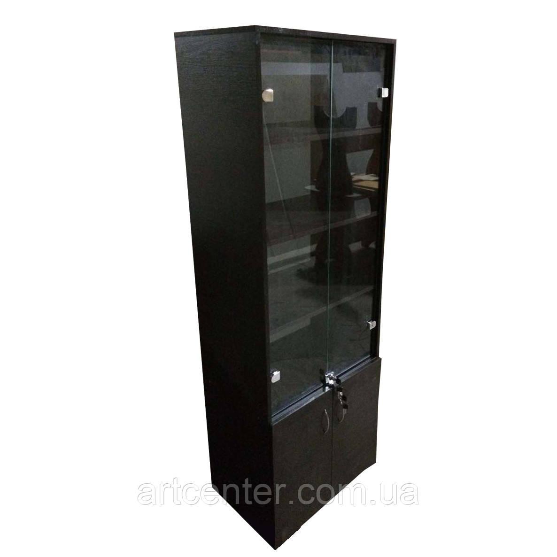 Шкаф витринный черный с полочками