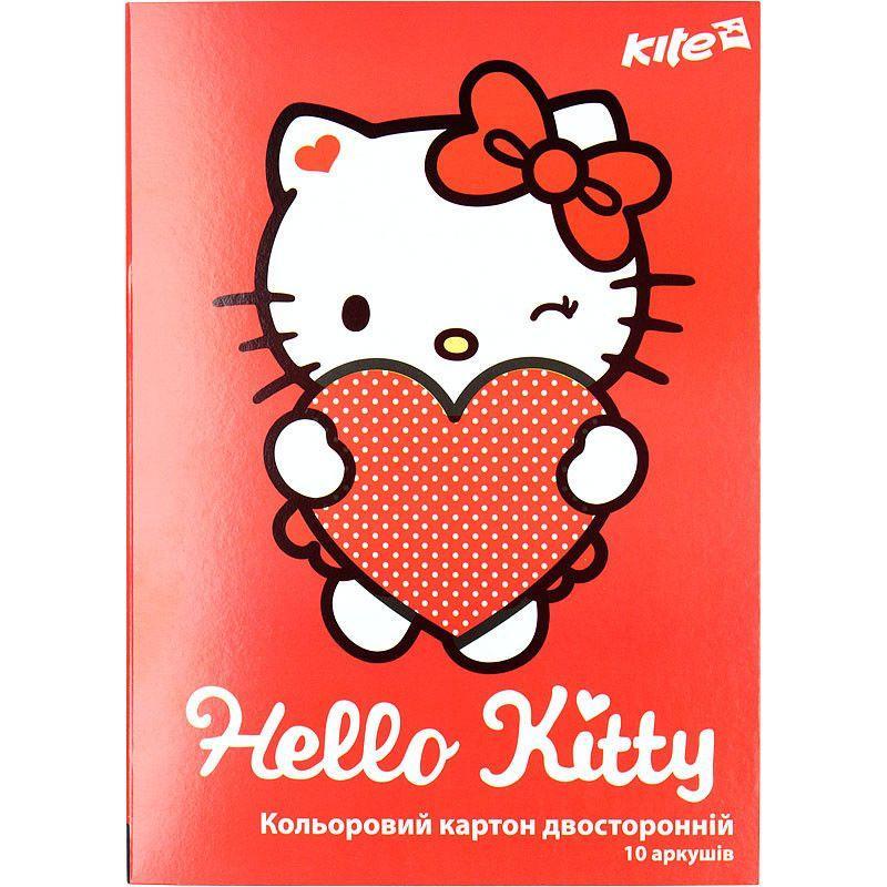 Картон цветной двухсторонний А4 Kite Hello Kitty 255 (10 листов)