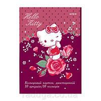Картон цветной двосторон.(10лист/10цвет), А4 Hello Kitty HK19-255