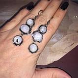Лунный камень серьги натуральный лунный камень в серебре, фото 3