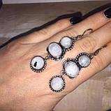 Місячний камінь сережки натуральний місячний камінь в сріблі, фото 2