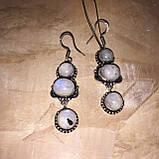 Місячний камінь сережки натуральний місячний камінь в сріблі, фото 4