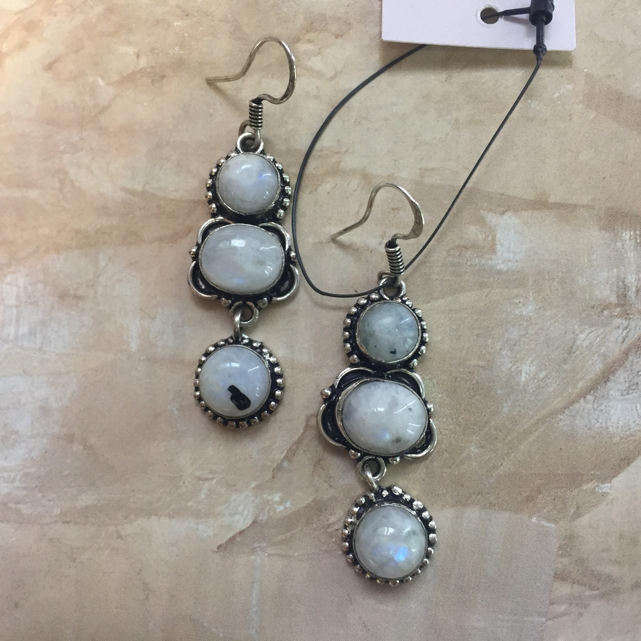 Місячний камінь сережки натуральний місячний камінь в сріблі