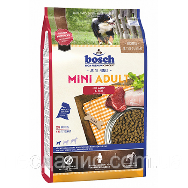 Bosch HPC Mini Adult Lamb (корм для мелких пород, ягненок рис), 15 кг