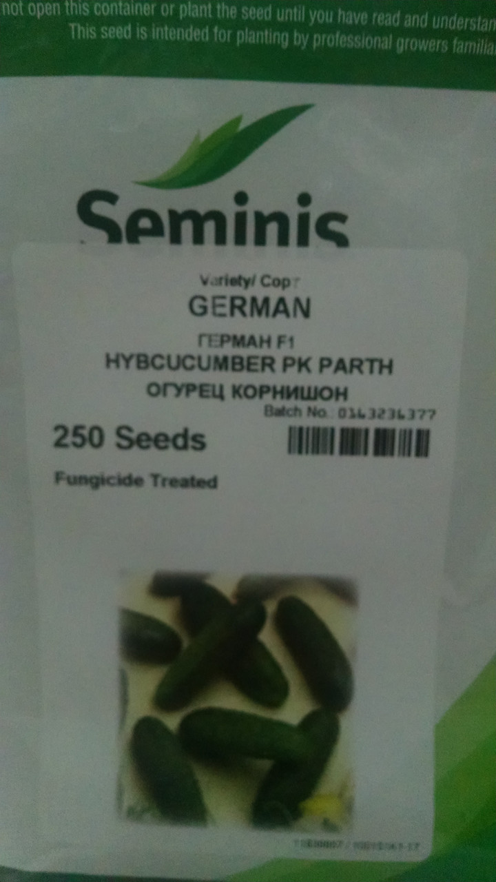 Семена гибрид ранний Огурцы  Герман F1 10 семянSeminis Голландия