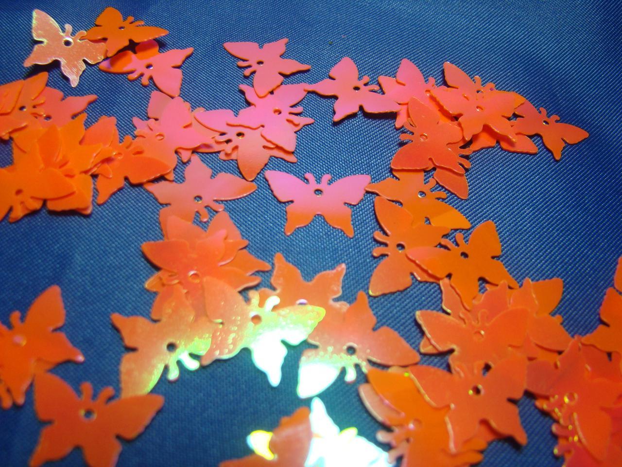 Паєтки метелики  оранжеві  17 мм  10 грам