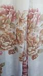 Тюль лен цветы крупные розово-коричневые