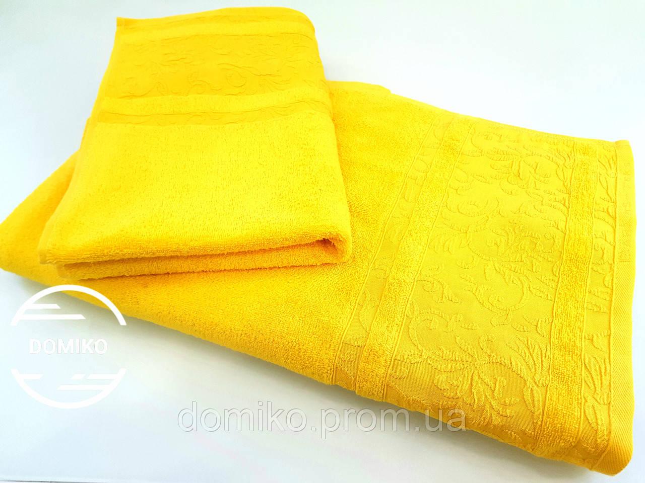 Полотенце махровое 70*140 Орнамент желтый премиум