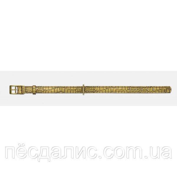 Кожаный ошейник 3 слоя (20 мм х 46 см), Кайман-золото