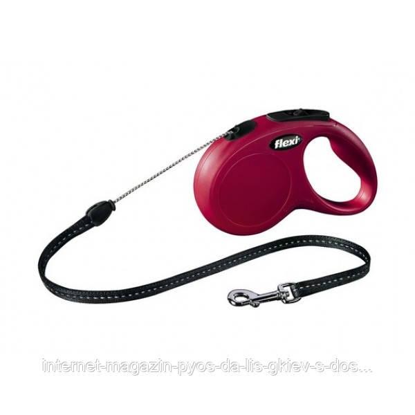 "Рулетка-поводок Трикси Trixie Flexi  ""New CLASSIC"" (5 м / до 12 кг), Красный"