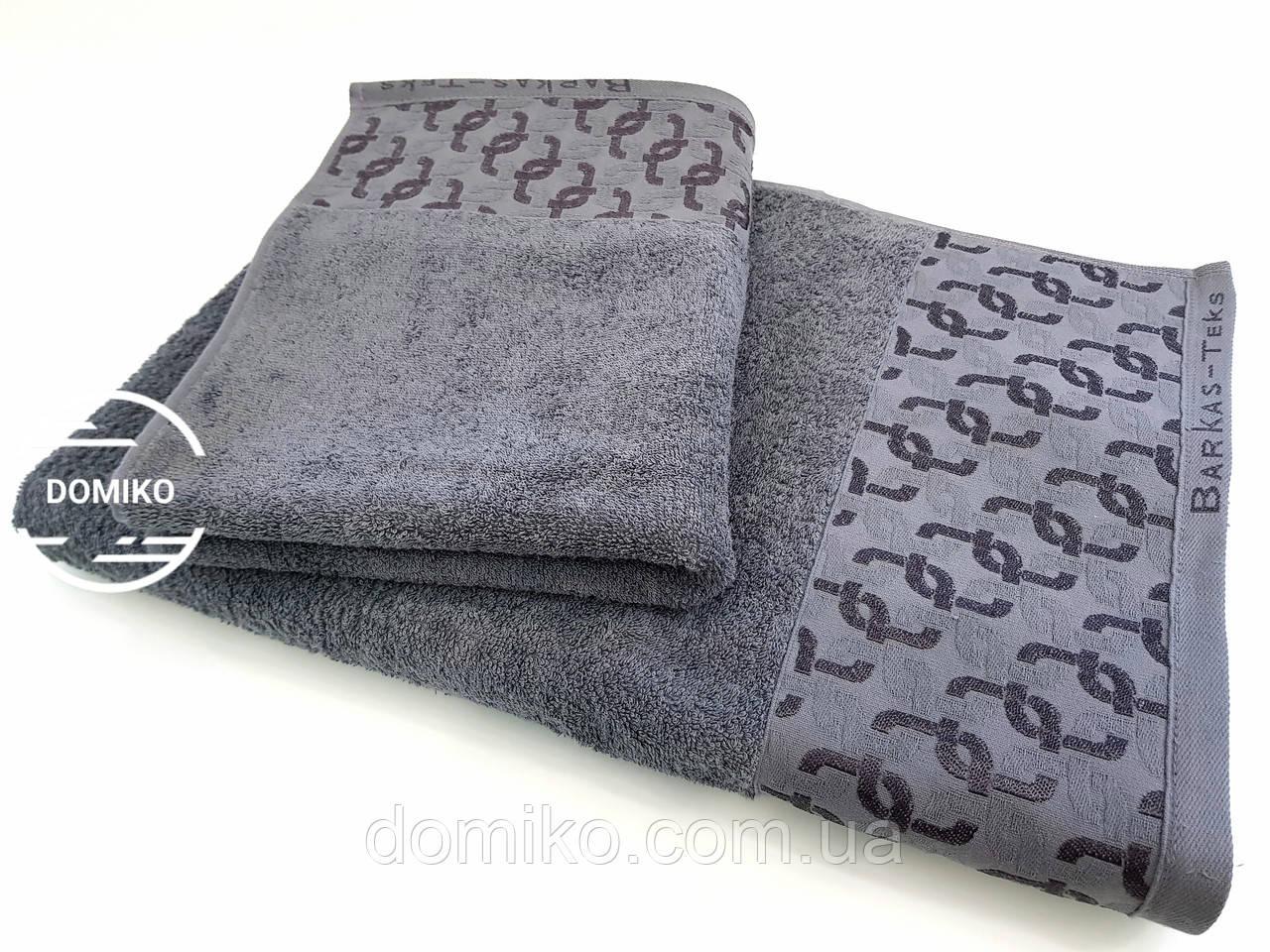 Полотенце махровое 50*90 серое Вензель премиум