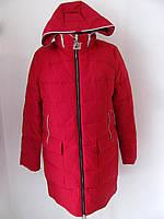 Женский пуховик  удлиненный зимний с капюшоном,красный (р.52-54,54-56) Код 4092М