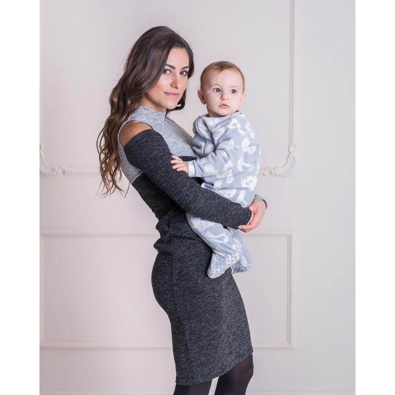 Платье футляр с вырезом для беременных и кормящих мам HIGH HEELS MOM (серый, размер XS)