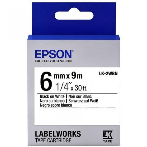 Картридж с лентой Epson LK2WBN принтеров LW-300/400/400VP/700 Std Blk/Wht 6mm/9m, фото 2
