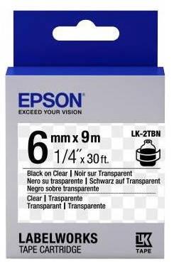 Картридж с лентой Epson LK2TBN принтеров LW-300/400/400VP/700 Clear Blk/Clear 6mm/9m, фото 2