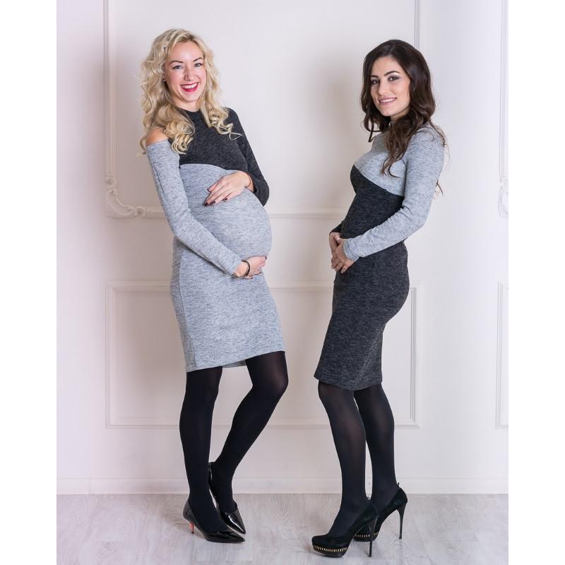 Платье футляр с вырезом для беременных и кормящих мам HIGH HEELS MOM (темно-серый, размер XS)