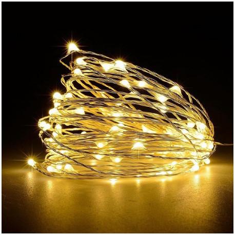 Светодиодная гирлянда нить LTL длина 4.5м 50led на батарейках золотая теплая Warm Gold