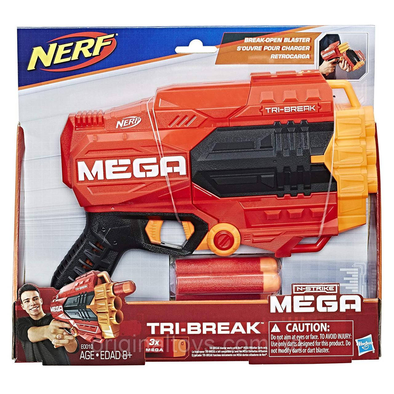 Бластер Nerf Нерф Mega Tri-Break Hasbro E0010