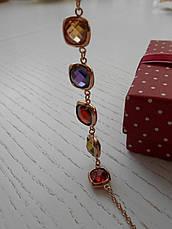 Позолоченный комплект украшений с разноцветными Swarovski бижутерия, фото 3