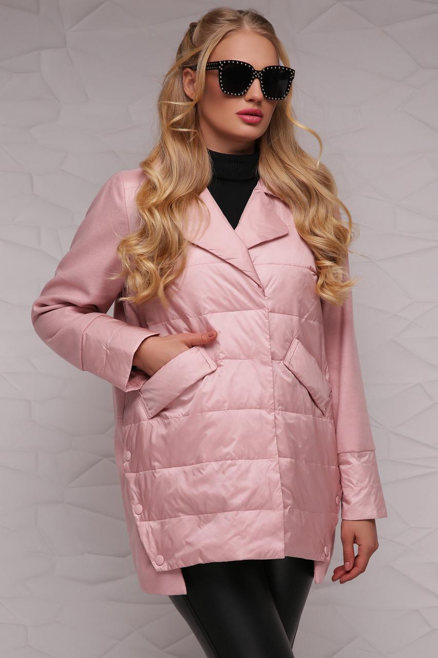 Новинка! стильна жіноча демісезонна куртка рожевого кольору, розмір: 4xl,7xl