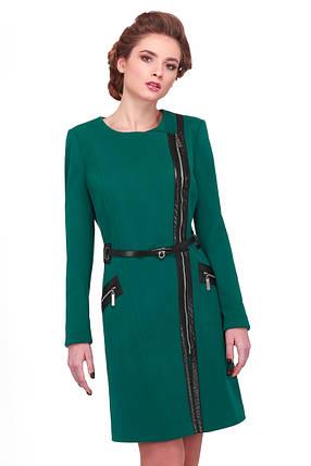 Стильное пальто женское с кожаными вставками, фото 2
