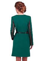 Стильное пальто женское с кожаными вставками, фото 3