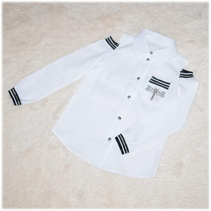 Блуза школьная Gucci с длинным рукавом белая для девочки  140