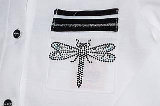 Блуза школьная Gucci с длинным рукавом белая для девочки  140 , фото 2