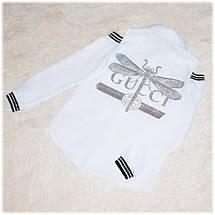 Блуза школьная Gucci с длинным рукавом белая для девочки  140 , фото 3