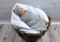 Пеленка-кокон на липучках + шапочка, серый меланж с нашивкой, 0-3 мес, фото 1