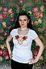 Жіноча вишита футболка із круглою горловиною у білому кольорі «Макова геометрія»