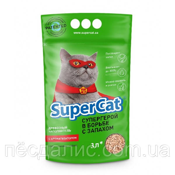 Древесный наполнитель с ароматизатором Super Cat, 3 кг