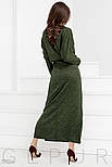 Теплое платье-реглан зеленого цвета, фото 3