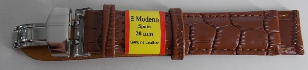 Ремешок кожаный MODENO Клипса (ИСПАНИЯ) 20 мм, коричневый, серебро
