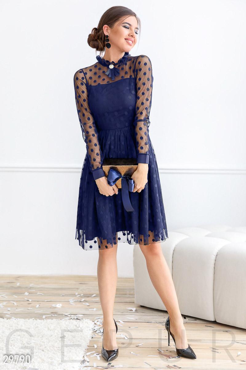 Расклешенное платье-миди синего цвета
