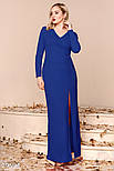 Торжественное платье-макси синего цвета больших размеров, фото 2