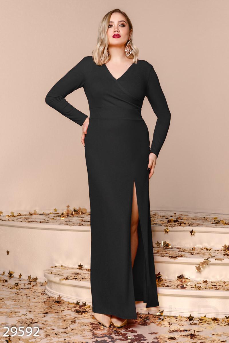 Торжественное платье-макси черного цвета больших размеров
