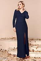 Торжественное платье-макси темно-синего цвета больших размеров