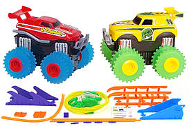 Машинки на бат. Trix Trux набор 2 машинки с трассой (красный+желтый)