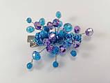 Заколка для волос с хрустальными бусинами Голубая Сиреневая, фото 4