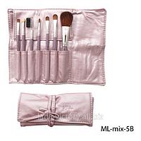 Набор кистей для макияжа с искусственными натуральным ворсом в чехле ML-mix-5B
