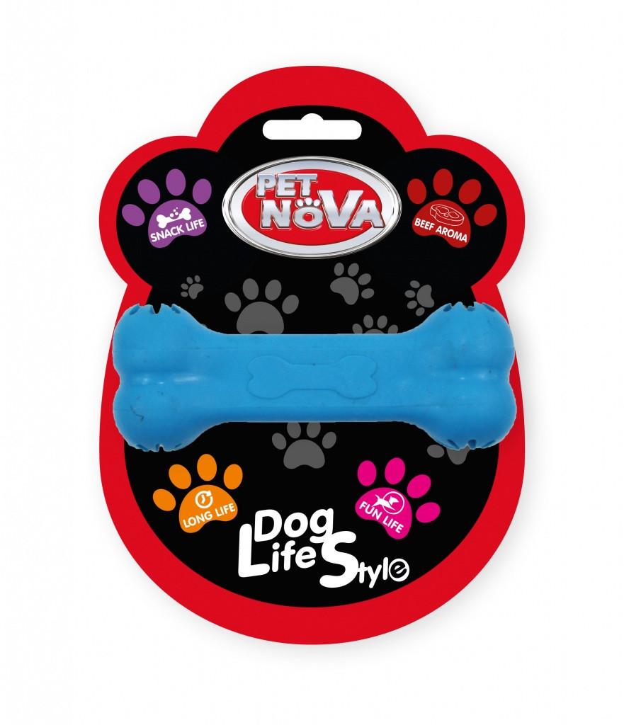 Игрушка для собак Кость кормушка Pet Nova 11 см синий
