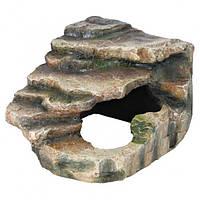 Угловая скала с пещерой для террариумов, 26х20х26 см