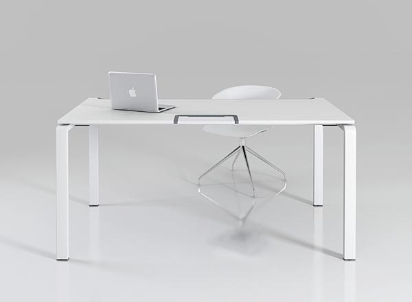 Стол офисный на металлических опорах Enrandnepr белый