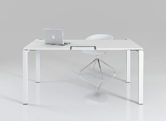 Стол офисный на металлических опорах c эрго-кромкой Enrandnepr 1411х814х740h мм белый