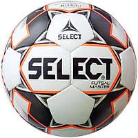 Мяч футзальный Select Futsal Master IMS, бело-оранжево-черный, р. 4, не ламинированный, низкий отскок